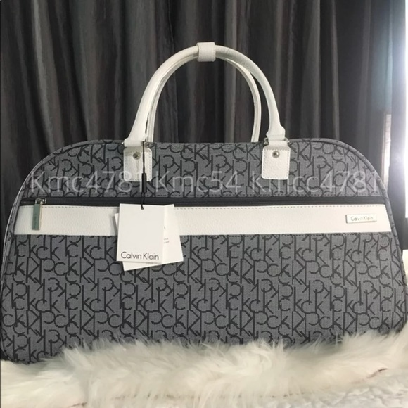 c2a2414f9d Calvin Klein Bags | Duffel Bag Rolling Luggage Grey White | Poshmark